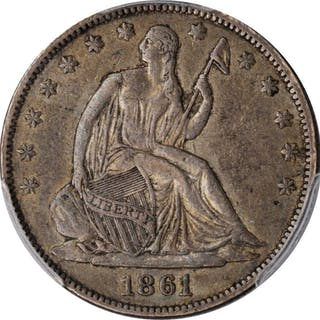1861-O Liberty Seated Half Dollar. State of Louisiana Issue. EF-40 (PCGS).