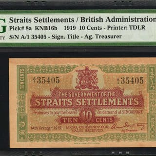 STRAITS SETTLEMENTS. British Administration. 10 Cents, 1919. P-8a.