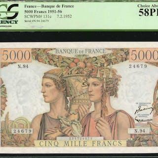 FRANCE. Banque de France. 5000 Francs, 1952. P-131c. PCGS Currency