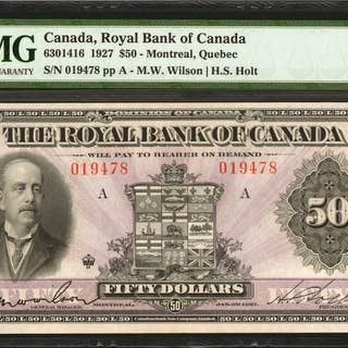 CANADA. Royal Bank of Canada. 50 Dollars, 1927. CH #6301416. PMG About