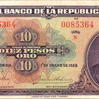 COLOMBIA. Banco de la Republica. 10 Pesos, 1928. P-374b. Very Fine.