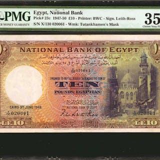 EGYPT. National Bank of Egypt. 10 Pounds, 1947-50. P-23c. PMG Choice