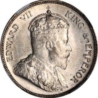 STRAITS SETTLEMENTS. 50 Cents, 1907-H. Edward VII. NGC AU-55.