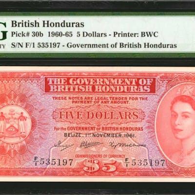 BRITISH HONDURAS. Government of British Honduras. 5 Dollars, 1960-65.