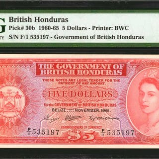 BRITISH HONDURAS. Government of British Honduras. 5 Dollars, 1960-65.