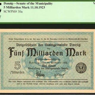 DANZIG. Senate of the Municipality. 5 Milliarden Mark, 1923. P-30a.