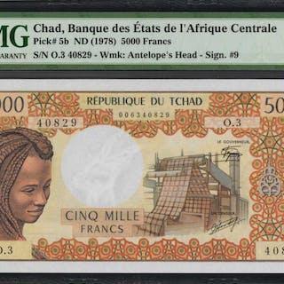 CHAD. Banque Des Etats De l'Afrique Centrale. 5000 Francs, ND (1978).