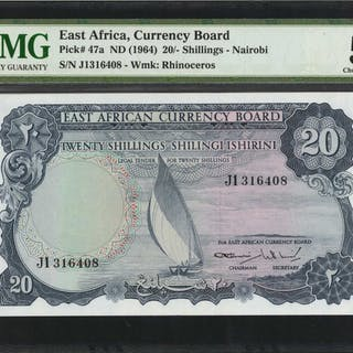EAST AFRICA. East African Currency Board. 20 Shillings, ND (1964).