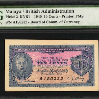 MALAYA. Board of Commissioners of Currency Malaya. 10 Cents, 1940.