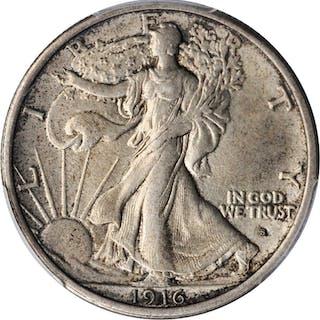 1916-S Walking Liberty Half Dollar. AU-58 (PCGS). CAC.