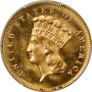 1880 Three-Dollar Gold Piece. MS-64+ (PCGS). CAC.