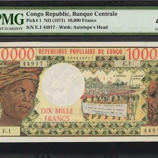 CONGO DEMOCRATIC REPUBLIC. Banque Centrale. 10,000 Francs, ND (1971).