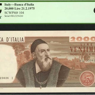 ITALY. Banca d'Italia. 20,000 Lire, 21.2.1975. P-104. PCGS Currency