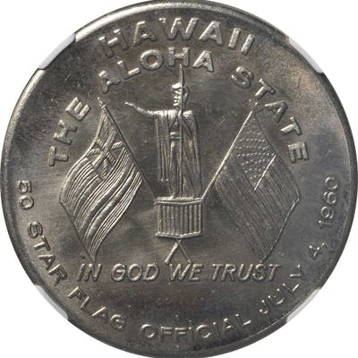 1959 Hawaii Statehood. Flag Day Dollar. Nickel-Silver. 38 mm. HK-547.