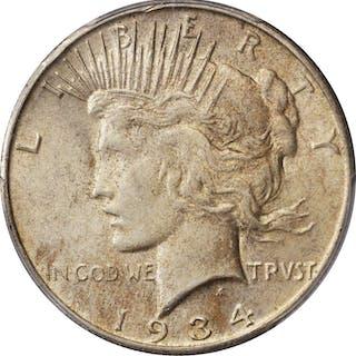 1934-S Peace Silver Dollar. AU-58 (PCGS).