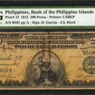 PHILIPPINES. Bank of The Philippine Islands. 200 Pesos, 1912. P-12.