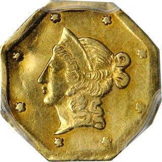 1854-DERI Octagonal $1. BG-529. Rarity-8. Liberty Head. AU Details--Damage