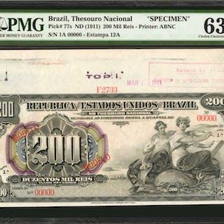 BRAZIL. Thesouro Nacional. 200 Mil Reis, ND (1911). P-77s. Specimen.