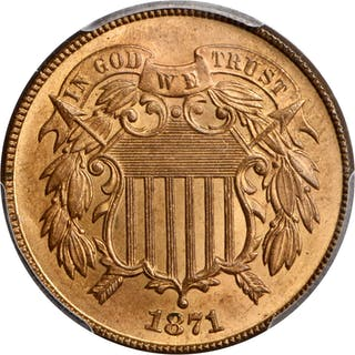 1871 Two-Cent Piece. MS-66+ RD (PCGS).