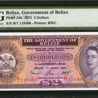 BELIZE. Government of Belize. 2 Dollars, 1975. P-34b. PMG Gem Uncirculated