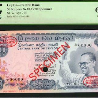 CEYLON. Central Bank of Ceylon. 50 Rupees, 1970. P-77as. Specimen.