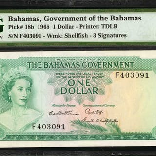 BAHAMAS. Bahamas Government. 1 & 5 Dollars, 1965. P-21a & 18b. PMG