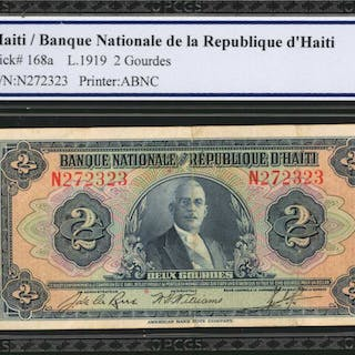 HAITI. Banque Nationale de la Republique d'Haiti. 2 Goudes, 1919.