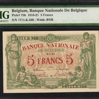 BELGIUM. Banque Nationale de Belgique. 5 Francs, 1918-21. P-75b. PMG