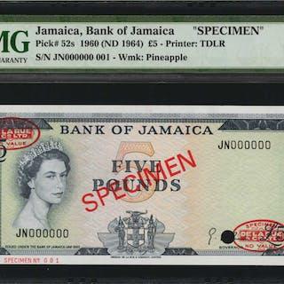 JAMAICA. Bank of Jamaica. 5 Pounds, 1960 (ND 1964). P-52s. Specimen.