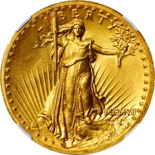 MCMVII (1907) Saint-Gaudens Double Eagle. High Relief.  Wire Rim. MS-66 (NGC).