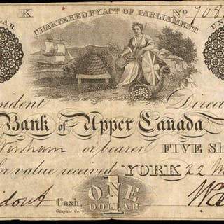CANADA. Bank of Upper Canada. 1 Dollar, 1831. CH #770-10-10. Very Fine.