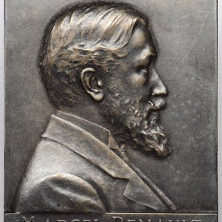 FRANCE. Marcel Renault Silver Plaque, 1903. Choice Uncirculated.