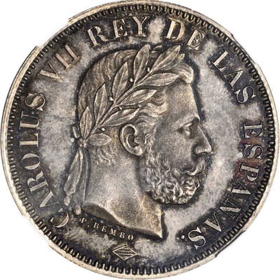 SPAIN. Silver 5 Pesetas Pattern, 1874. Brussels Mint. Charles VII