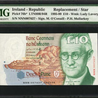 IRELAND, REPUBLIC. Central Bank of Ireland. 10 Pounds, 1995-99. P-76b.