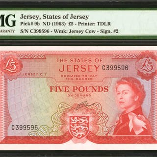 JERSEY. States of Jersey. 5 Pounds, ND (1963). P-9b. PMG Gem Uncirculated