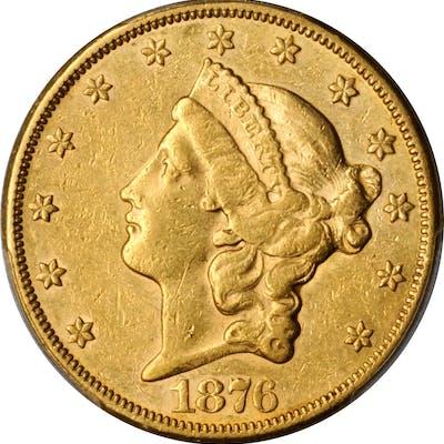 1876-CC Liberty Head Double Eagle. AU-50 (PCGS).