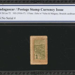 MADAGASCAR. Postage Stamp Currency Issue. 1 Franc, ND (1916-17). P-26.