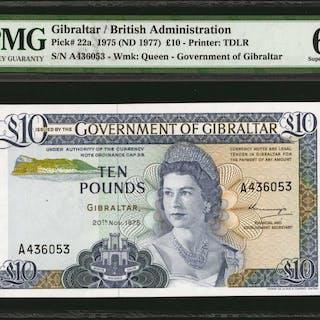 GIBRALTAR. Government of Gibraltar. 10 Pounds, 1975. P-22a. PMG Superb