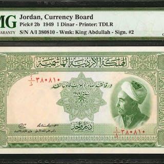 JORDAN. Currency Board. 1 Dinar, 1949. P-2b. PMG Choice Uncirculated 64.