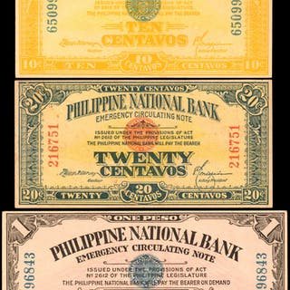 PHILIPPINES. Philippine National Bank. 10 & 20 Centavos, 1 Peso, 1917.