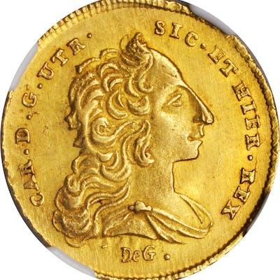 ITALY. Naples & Sicily. 6 Ducati, 1753 DG-MM-R. Charles. NGC MS-63+.