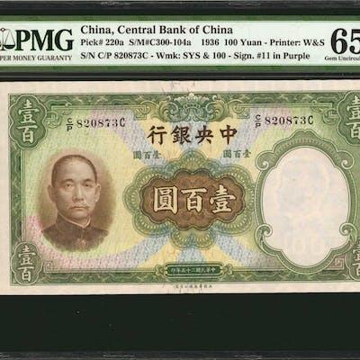 CHINA--REPUBLIC. Central Bank of China. 100 Yuan, 1936. P-220a. PMG