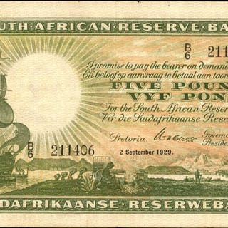 SOUTH AFRICA. South African Reserve Bank. 5 Pounds, 1929. P-86a. Very Fine.