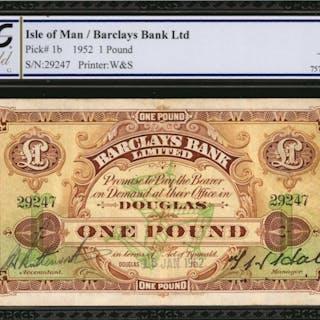 ISLE OF MAN. Barclays Bank Ltd. 1 Pound, 1952. P-1b. PCGS GSG Very Fine 25.