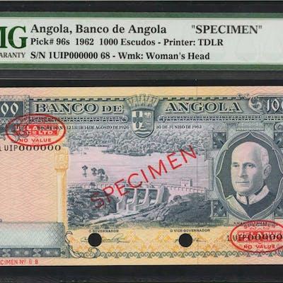 ANGOLA. Banco de Angola. 1000 Escudos, 1962. P-96s. Specimen. PMG
