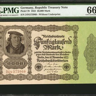 GERMANY. Republic Treasury Note. 50,000 Mark, 1922. P-79. PMG Gem