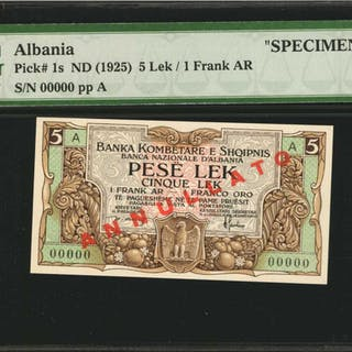 ALBANIA. Banka Kombetare E Shoipnis. 5 Lek, ND (1925). P-1s. Specimen.