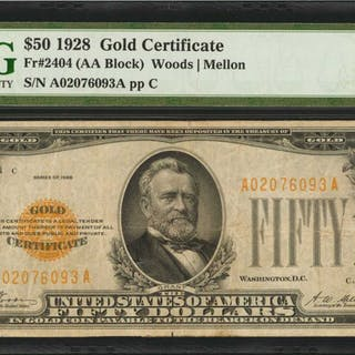 Fr. 2404. 1928 $50  Gold Certificate. PMG Very Fine 25.