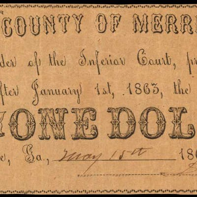 Greenville, Georgia. County of Merriwether. 1862. $1. Very Fine.