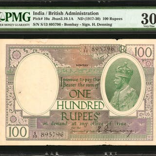 INDIA. British Administration. 100 Rupees, ND (1917-30). P-10a. PMG